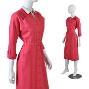 Vintage 1950s New Look Dress - Raspberry Lt Wt Gabardine S / M