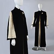 Deco 1930s - 40s Velvet Coat - Ermine Trim S / M