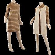 Chic 1960s Mini Dress w / Long Vest  S