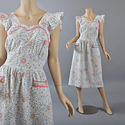Vintage 1950s Cotton Pinafore Dress / Apron - S