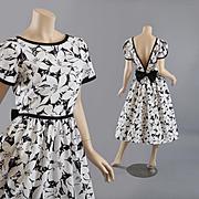 Charming Vintage Black & White Dress - Plunging Back S / M