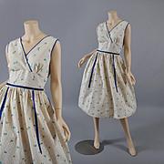 Floral Sprig Vintage 1950s Sleeveless Dress M