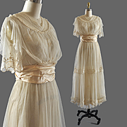 Exquisite Vintage Edwardian Net Tea Bridal Dress Gown - RH Macy