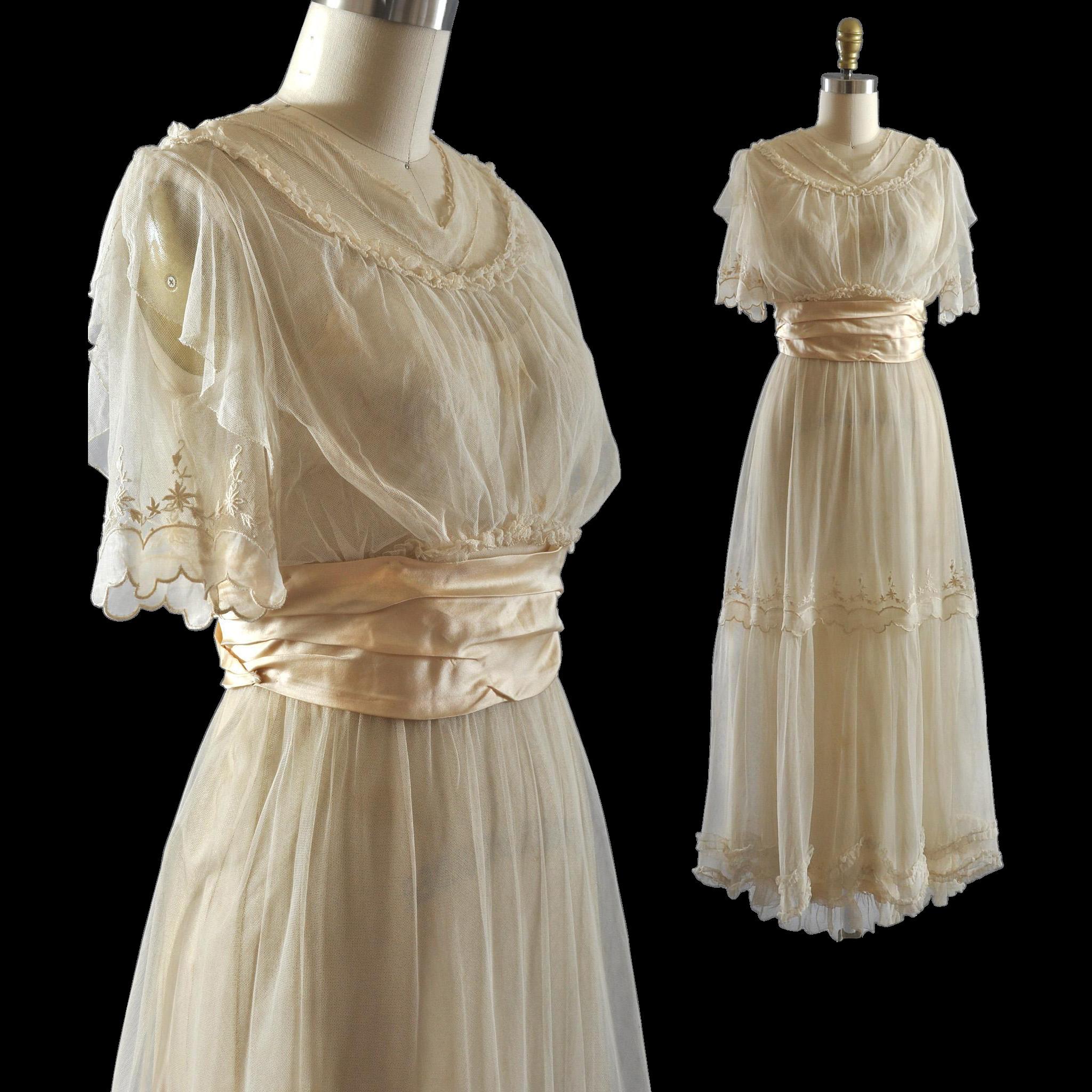 Tea Gown: Exquisite Vintage Edwardian Net Tea Bridal Dress Gown