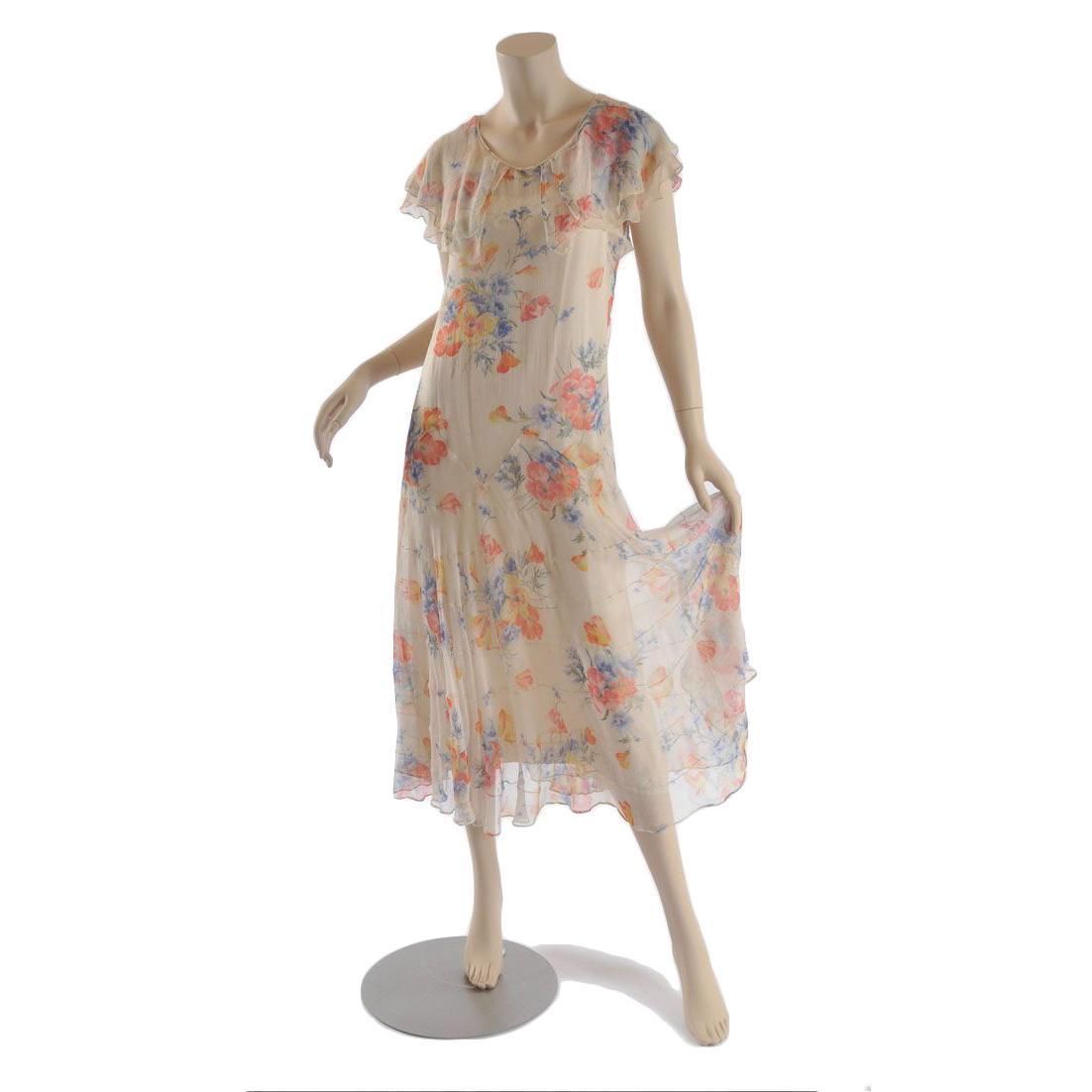 vintage 1920s 1930s floral chiffon lingerie dress s