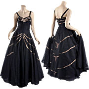 Hattie Carnegie 1940s - 50s Black Lace Gown - Lavish Full Skirt