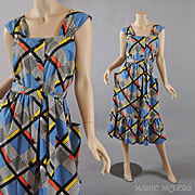 Color-Block Vintage 1950s Sundress Dress - S / M