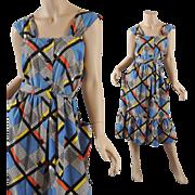 Color-Block Vintage 1950s Sundress Dress - S / M