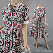 1950s Dress w / Roses on Gray Background - Flounced Skirt - S