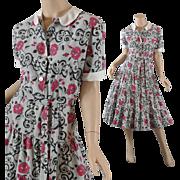 1950s Dress w / Roses on Gray Background - Flounced Skirt - S