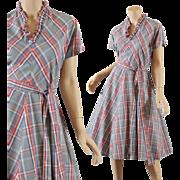 Charming Gray Plaid 1950s Dress - Best Details S / M