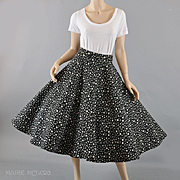 Quilted 1950s Black & White Polka Dot Circle Skirt - S