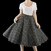 Quilted 1950s Black & White Polka Dot Circle Skirt - S