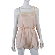 1920s Blush Silk Teddy Chemise w/ Lace, Ribbons