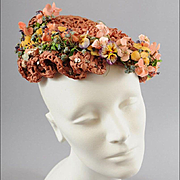1950s Woven Ribbon Hat w / Flowers, Sequins