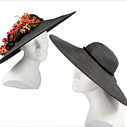 1930s - 40s Black Cartwheel Hat w / Removable Flowers