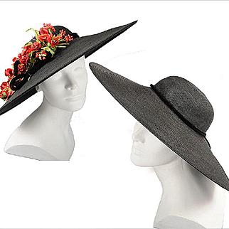 1930s - 40s Black Cartwheel Hat w / Removable Flowers