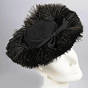 Vintage 30s - 40s Hat w/ Ostrich Plumes *Karo, NY