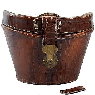 Vintage Top Hat Bucket Case *Alligator Embossed Leather