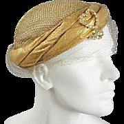 Vintage 1940s Lame Juliette Cap Hat *Rhinestones & Gold Lame Mesh
