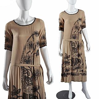 Vintage Deco 1920s Flapper Beaded Dress, Extraordinary Beading