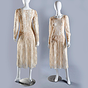Vintage Ivory Lace Dress, Grt for Bridal S