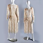Vintage Ivory Lace Dress, Grt for Bridal S