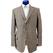 Vintage 60s Men's Checked Harris Tweed Sport Coat Jacket 41-42