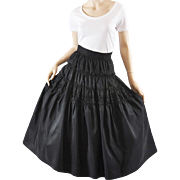 Vintage 50s Tiered Taffeta Skirt, Party - Embroidered S / M