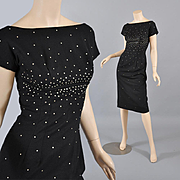 Sexy Vintage 1950s Sleek Black Sheath - Rhinestones XS