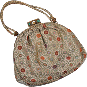 c 1950s Silk Brocade Evening Bag, Ornate Clasp - Edbar, Hnd Md
