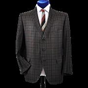 1960's Hart Schaffner Marx Cotton Plaid Sport Coat - 44