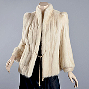 Vintage 1950s - 60s White / Ivory Mink Jacket - S