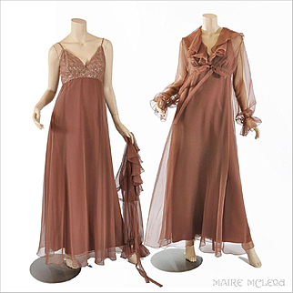 70s Chiffon Maxi Dress, Sequins & Crop Jacket, Jack Bryan S