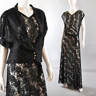 Elegant Black Lace Vintage 1930s Long Gown / Jacket - M