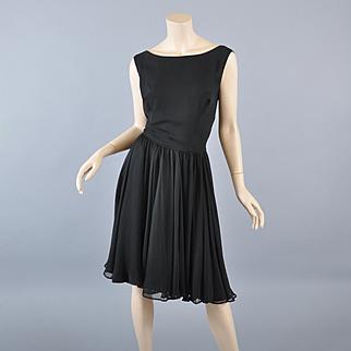 Black Silk Chiffon 50s-60s Cocktail Dress /Fay Hoosin Lgr Size