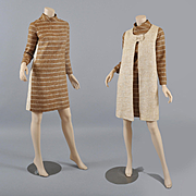 Chic 1960s Mini Dress w / Long Vest Linen look S