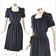 Navy Crepe 1940's Dress - Puff Trim, Fine Quality - S / M