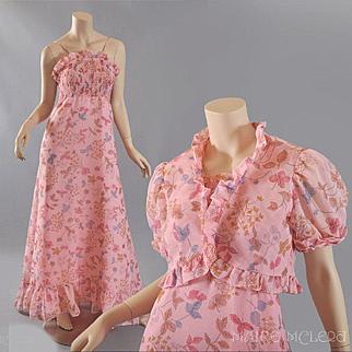 Sally Milgrim 1970s Gauze Floral  Maxi Dress w / Bolero Jacket  S / M