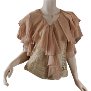 Sexy Lace & Nude Chiffon 1930s Blouse Top - S / M