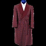 40's Vintage Men's Polka Dot Robe, Smoking Jacket
