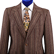 1960s Vintage Striped Tweed Sport Coat Jacket, Sage Allen 40S
