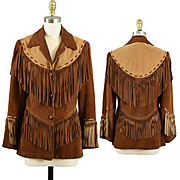 Fabulous Vintage Fringed Leather Buckskin Suede Jacket - S / XS