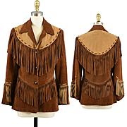 Fabulous Vintage Fringed Leather Buckskin Suede Jacket - S / XS