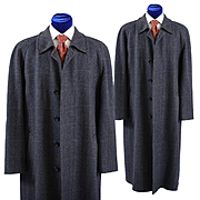 Vintage English Balmacaan Window Pane Tweed Coat Overcoat, 40L