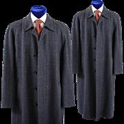 Vintage English Balmacaan Window Pane Tweed Coat Overcoat, 40L
