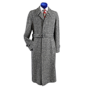 70s Mens Herringbone Tweed Balmacaan Overcoat Coat 42-44