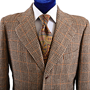 Mens 1940s - 50s Houndstooth Tweed Jacket - 40 L
