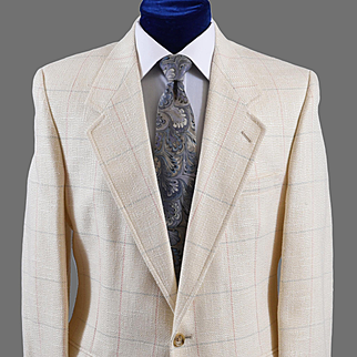 Vintage Windowpane Linen Sport Coat Jacket,  Evan Picone - 40 Reg