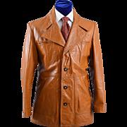 Vintage 70s Leather Jacket Sport Coat, Western Details M / ML